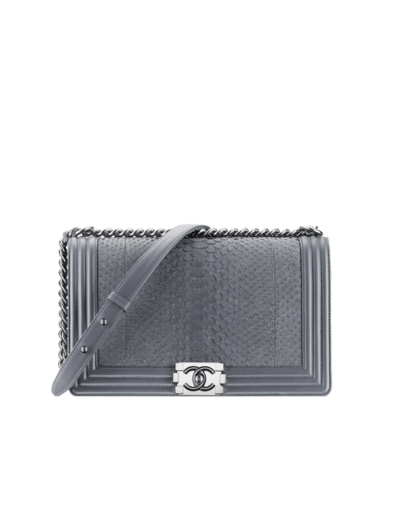 aa35302232a8 Chanel Grey Python Boy Flap New Medium Bag - Spring 2015 Act 1 ...
