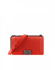 Chanel Red Chevron Old Medium Bag - Spring 2015 Act 1