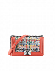 Chanel Red Multicolor Tweed Boy Old Medium Bag - Spring 2015 Act 1