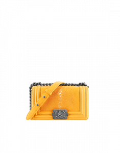 Chanel Yellow Galuchat Boy Chanel Flap Small Bag - Spring 2015 Act 1