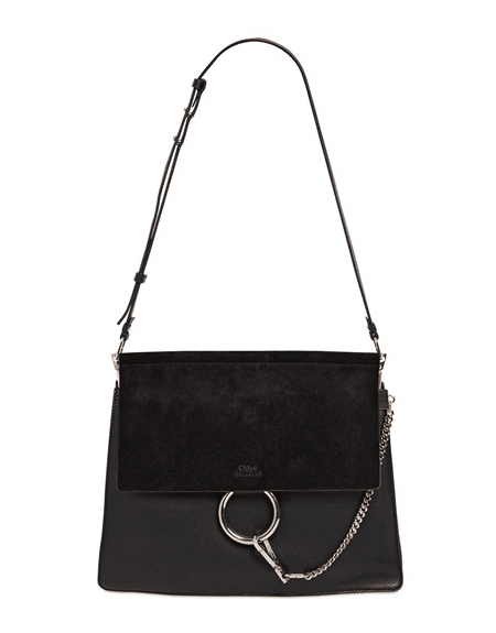 Chloe Black Suede Leather Faye Medium Bag