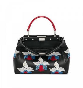Fendi Black Multicolor Orchid Embroidered Peekaboo Mini Bag
