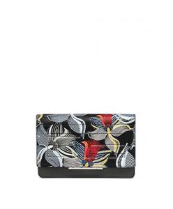 Fendi Black Multicolor Orchid Print Chain Wallet Bag