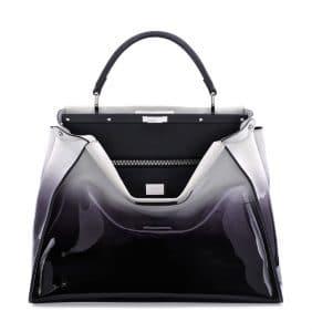 Fendi Black/White Ombre Patent Peekaboo Large Bag