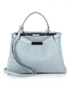 Fendi Light Blue Python Peekaboo Small Bag
