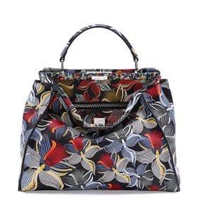 Fendi Multicolor Orchid Print Peekaboo Large Bag