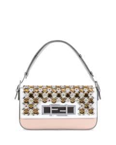 Fendi White/Pink/Gray Jeweled 3Baguette Bag