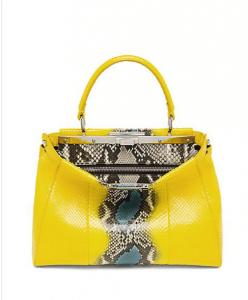 Fendi Yellow Multicolor Python Peekaboo Large Bag