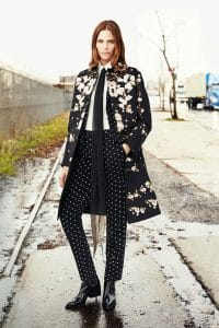 Givenchy Black Floral Print Coat - Pre-Fall 2015