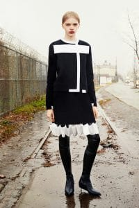 Givenchy Black/White Dress and Black Boots - Pre-Fall 2015
