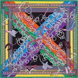 Hermes Brides Et Gris-Gris Silk Twill Scarf 90