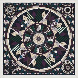 Hermes Rose de Compas Silk Twill Scarf 70