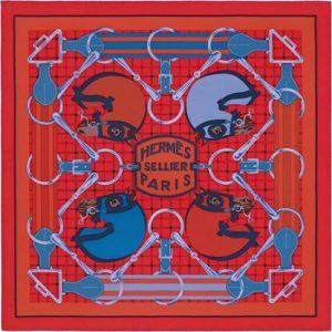 Hermes Tatersale Silk Twill Scarf 90