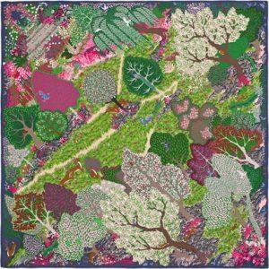 Hermes Un Jardin Anglais Silk Twill Scarf 90