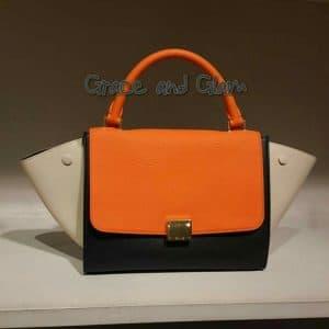 Celine Tricolor Neon Orange Mini Trapeze Bag