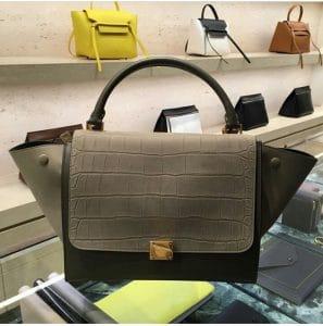 Celine Taupe Grey Croc Mini Trapeze Bag