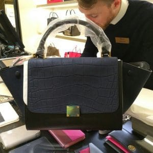 Celine Stamped Croc Mini Trapeze Bag