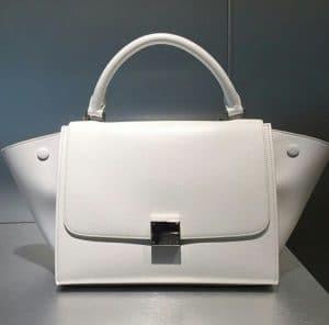 Celine White Leather Mini Trapeze Bag