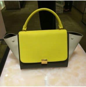 Celine Neon Yellow Tricolor Mini Trapeze bag