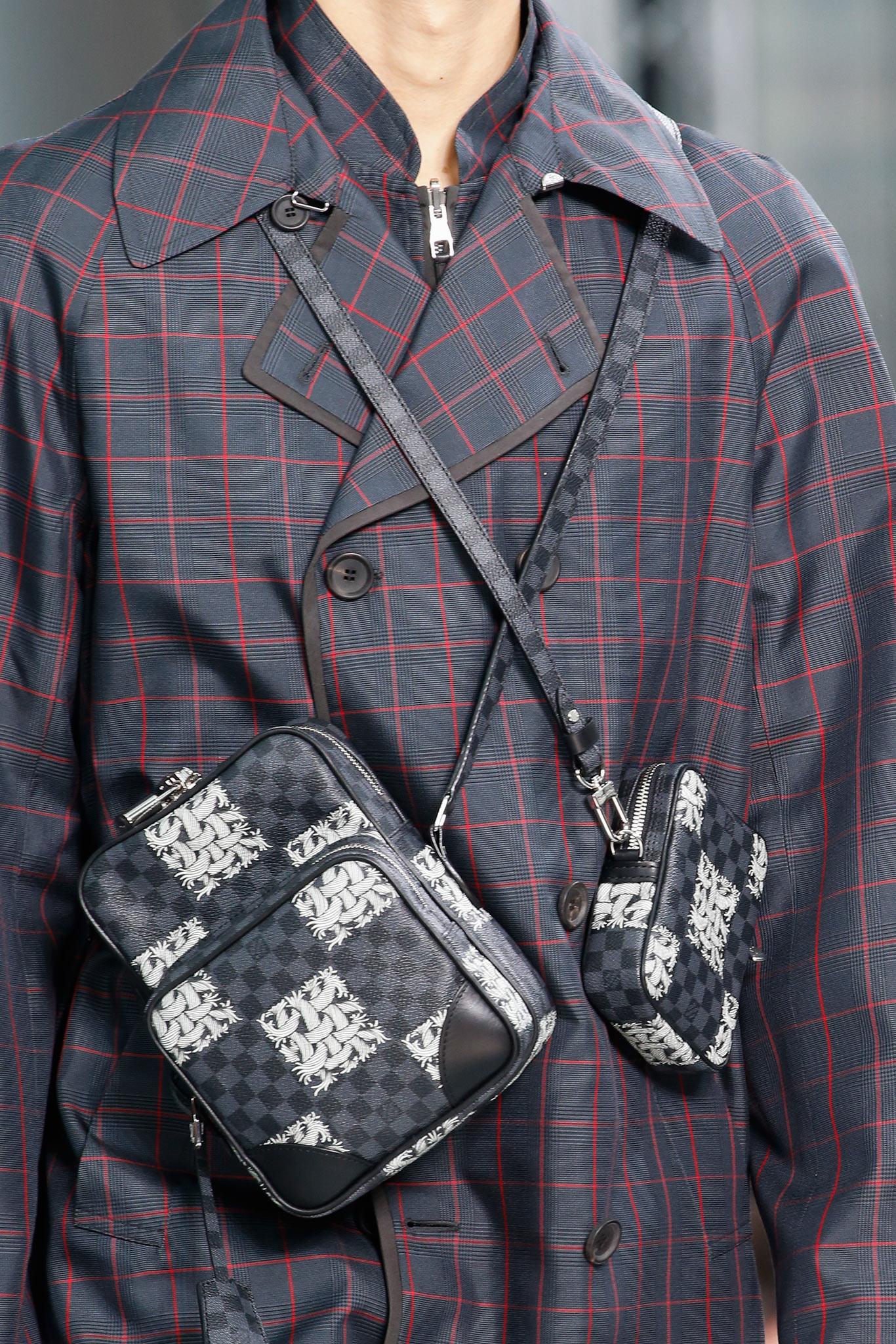 louis vuitton men u0026 39 s fall    winter 2015 runway bags featuring damier graphite nemeth print