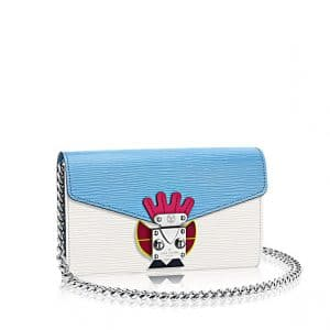 Louis Vuitton White Blue Tricolor Mask Chained Wallet - Cruise 2015