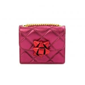 Marc Jacobs Fuchsia/Red Quilted Metallic Party Bow Trouble Mini Bag