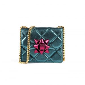 Marc Jacobs Turquoise/Fuchsia Quilted Metallic Party Bow Trouble Mini Bag