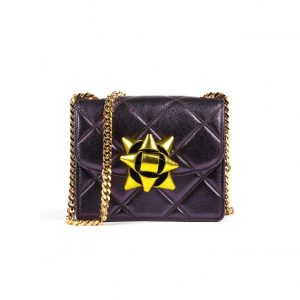 Marc Jacobs Violet/Yellow Quilted Metallic Party Bow Trouble Mini Bag