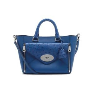 Mulberry Sea Blue Ostrich Willow Tote Small Bag