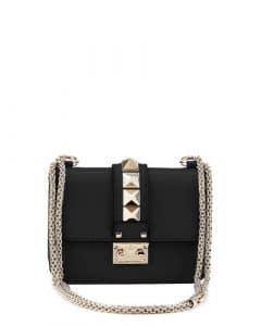 Valentino Black Rockstud Lock Flap Mini Bag