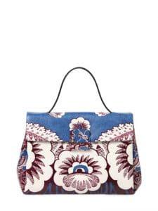 Valentino Blue Multicolor Floral Printed Top Handle Small Bag