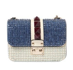 Valentino Blue/White Embellished Lock Flap Small Bag