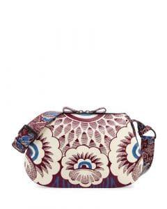 Valentino Burgundy Multicolor Floral Printed Hobo Bag