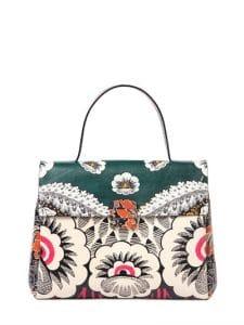 Valentino Green Multicolor Floral Printed Top Handle Bag