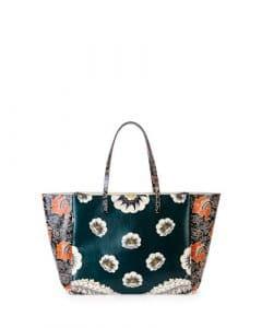Valentino Green Multicolor Floral Printed Tote Bag
