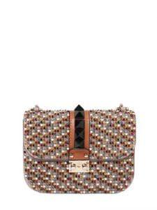 Valentino Multicolor Embellished Lock Flap Bag