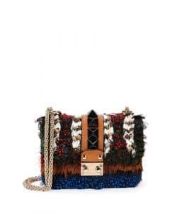 Valentino Multicolor Feather Lock Flap Mini Bag
