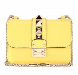 Valentino Naples Yellow Rockstud Lock Flap Mini Bag