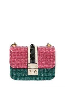 Valentino Pink/Green Embellished Lock Flap Small Bag
