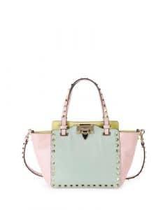 Valentino Pink/Light Green Watercolor Rockstud Tote Mini Bag