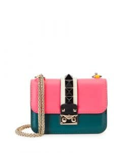 Valentino Pink/Yellow/Teal Lock Flap Bag