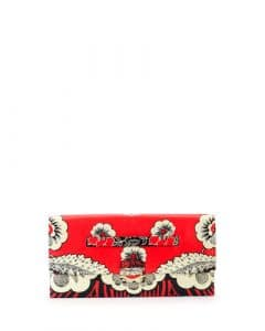 Valentino Red Multicolor Floral Printed Clutch Bag