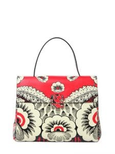 Valentino Red/Off White Floral Printed Top Handle Bag