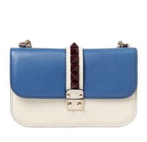 Valentino White/Blue Lock Flap Large Bag