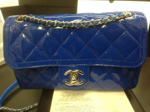 Chanel Blue Coco Shine Flap Small Bag