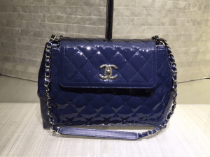 Chanel Dark Navy Blue Coco Shine Accordion Large Bag