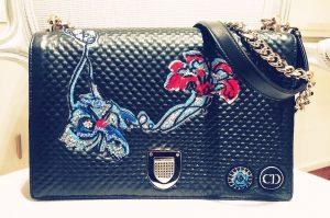 Dior Black Embellished Diorama Flap Bag