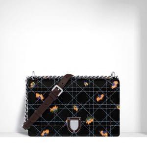 Dior Black Embroidered Diorama Flap Bag