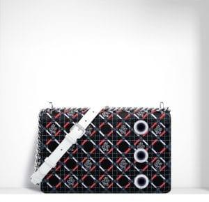 Dior Black Multicolor Tufted Flowers Diorama Flap Bag