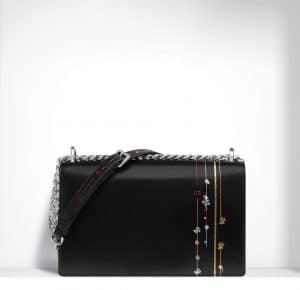 Dior Black with Decoration Diorama Flap Bag